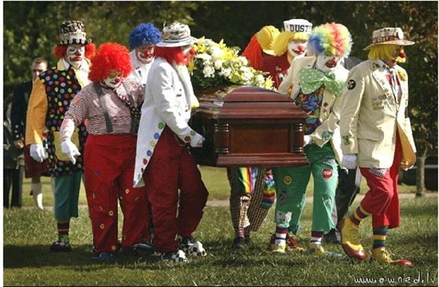 Happy clown's funeral