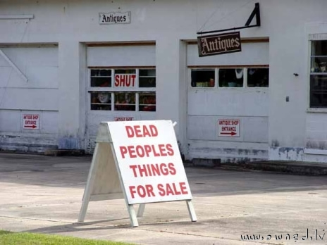 Dead peoples things for sale