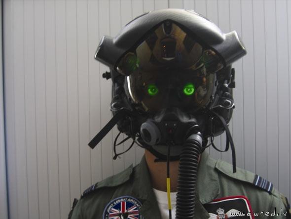 An actual pilots helmet
