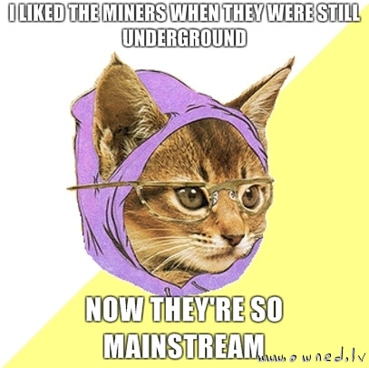 Hipster cat over miners