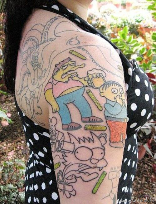 by taking it to the next level, and actually getting Simpsons tattoos. The Simpsons tattoo