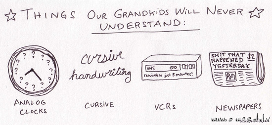 Things our gandkids will never understand