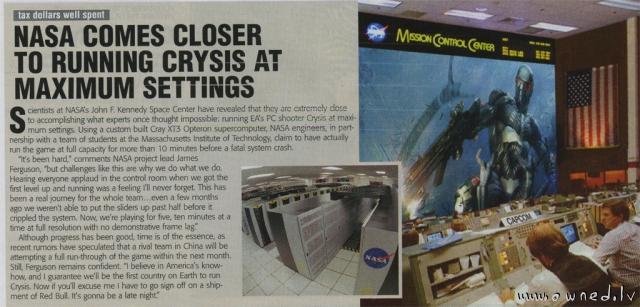 Nasa comes closer to running Crysis at maximum settings