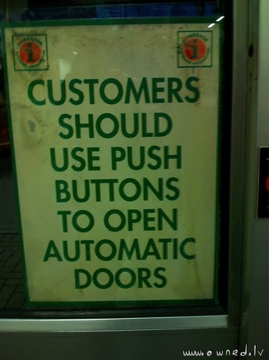 Push button to open automatic doors
