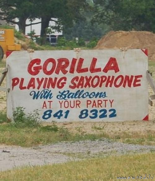 Gorilla playing saxophone at your party