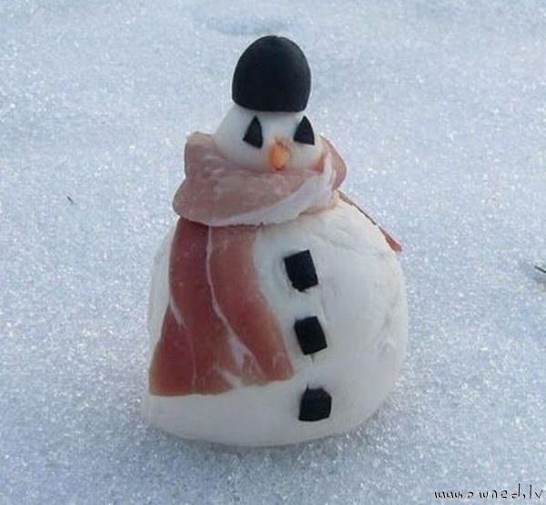 Bacon scarf for snowman