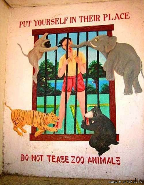 Dont tease zoo animals