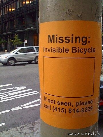 Missing invisible bicycle