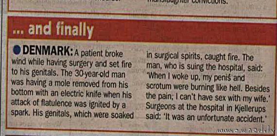 A patient broke wind