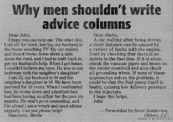 Why men shouldnt write advice columns