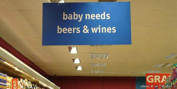 Baby needs beers and wines