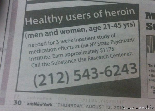 Healthy users of heroin