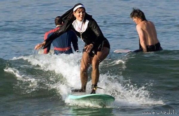 Surfing nun
