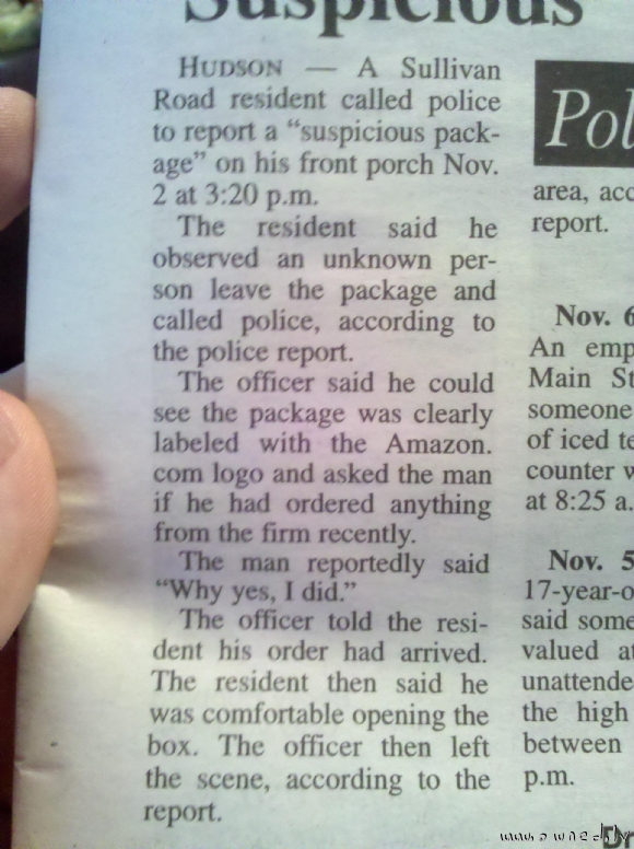 A suspicious package